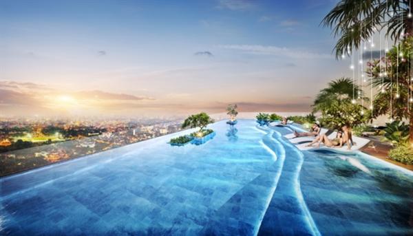 """Hồ bơi tầng thượng tại D-Homme với tầm nhìn """"đắt giá"""" ra toàn thành phố."""