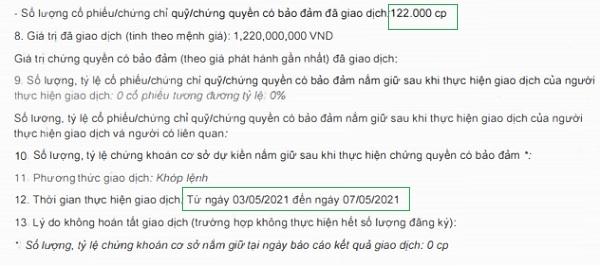 Bà Hưng đã bán lô cổ phiếu ROS sau gần 1 tháng nắm giữ.