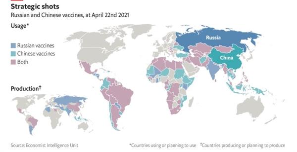 Chiến lược ngoại giao vaccine của Nga và Trung Quốc. Ảnh: The Economist.