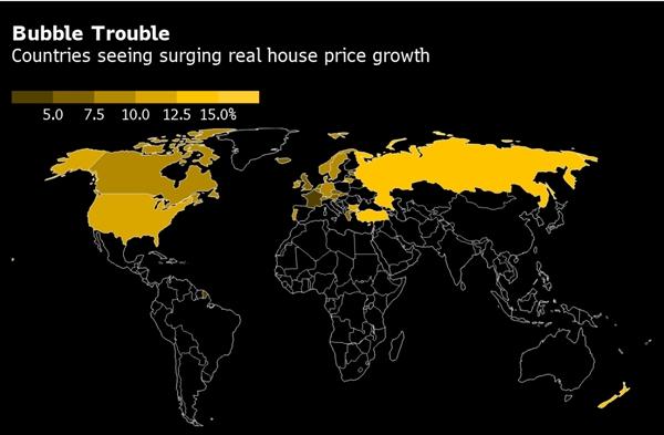 Các quốc gia chứng kiến thị trường bất động sản tăng mạnh nhất thế giới. Ảnh: OCED.