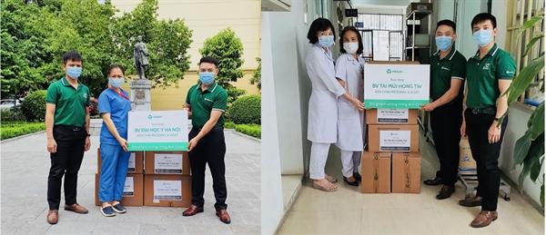 BV Đại học Y Hà Nội và BV Tai Mũi Họng TW tiếp nhận Thuốc súc miệng họng Medoral và Nước biển sâu Xisat do Tập đoàn MERAP trao tặng.