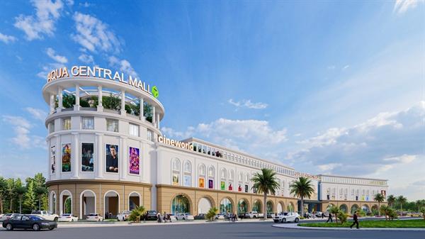 Trung tâm thương mại Aqua Central Mall tọa lạc đối diện Aqua Marina, hoàn thiện quý IV/2021 tạo nên một khu trung tâm sầm uất