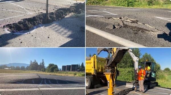 Bộ Giao thông Vận tải Washington đã đăng ảnh hôm thứ Hai tại một địa điểm khác của các công nhân làm đường đang lấp một đoạn đường cao tốc đã bị chia cắt. Ảnh: New York Daily News.