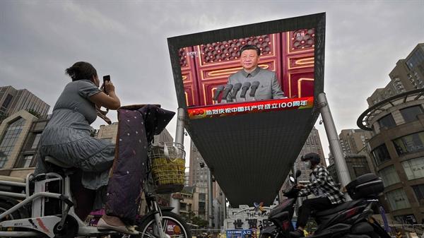 Chủ tịch Trung Quốc Tập Cận Bình phát biểu trong sự kiện kỷ niệm 100 năm thành lập Đảng Cộng sản Trung Quốc. Ảnh: AP.