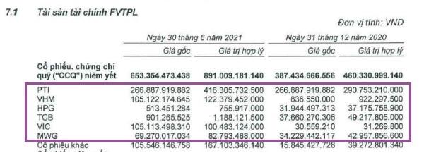 Danh mục tự doanh cổ phiếu và chứng chỉ quỹ niêm yết của VNDirect. Ảnh: VND.