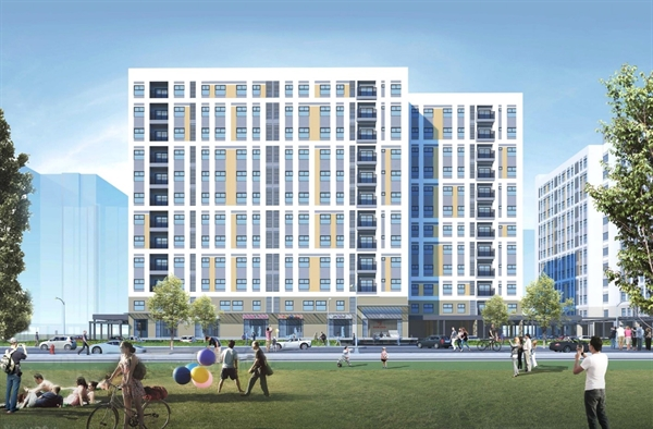 Artist impression of the EHome Southgate apartment building