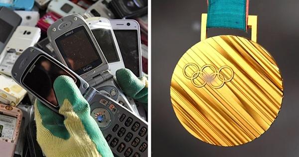 Các huy chương tại Thế vận hội Tokyo được làm từ việc tái chế các thiết bị điện tử như điện thoại thông minh và máy tính xách tay. Ảnh: Umma Times.