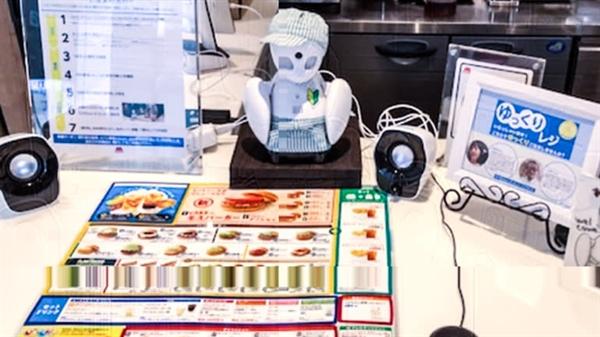 Robot OriHime tại một cửa hàng Mos Burger ở Tokyo nhận đơn đặt hàng của khách hàng và đưa ra các đề xuất. Ảnh: Mos Food Services.