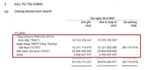 Danh mục đầu tư cổ phiếu của Vĩnh Hoàn tại thời điểm cuối quý II/2021. Nguồn: VHC.