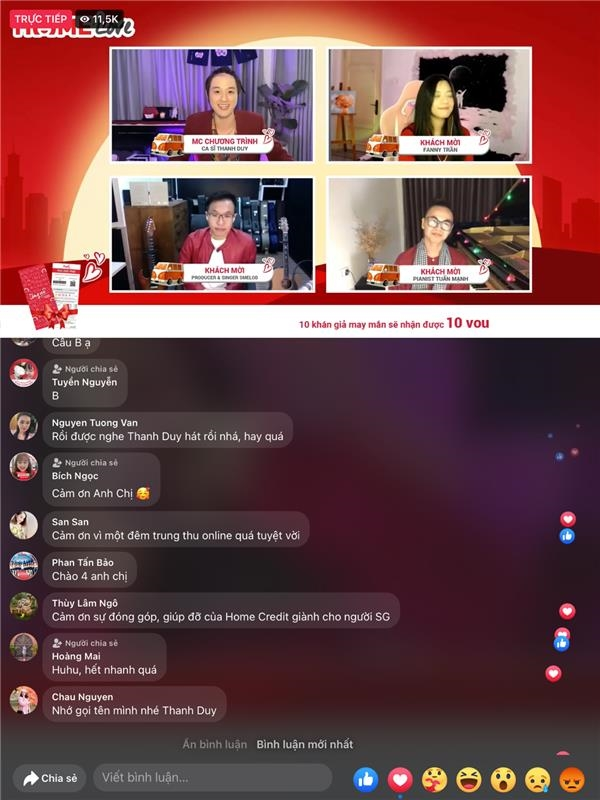 Buổi livestream minishow trên fanpage của Home Credit Việt Nam vào tối 21/9/2021 vừa qua