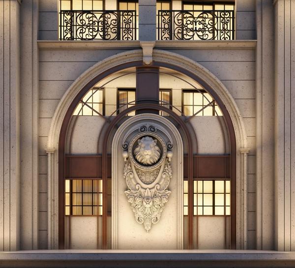 Hình ảnh đầu sư tử đặc trưng của thương hiệu Ritz-Carlton được chế tác thủ công nằm ở mặt ngoài của dự án. Ảnh: Masterise Homes