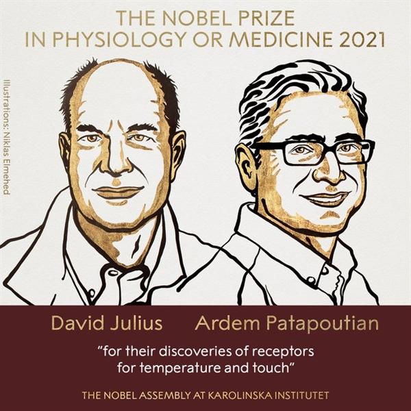 A1: Đồng chủ nhân của giải Nobel Y học 2021: Ông David Julis và ông Ardem Patapoutian. Ảnh: Nobel Prize.