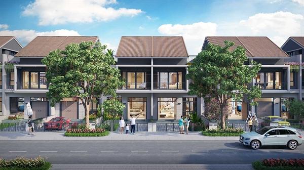 """Sản phẩm nhà phố xây sẵn phân khu Diamond Parkview sở hữu vị trí trung tâm của """"thành phố sân bay"""" Gem Sky World."""