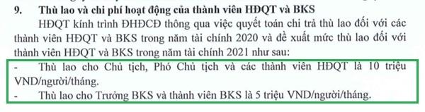 Theo Nghị quyết Đại hội đồng cổ đông năm 2021.