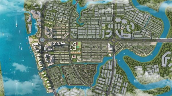 Phối cảnh tổng thể dự án Izumi City tọa lạc tại vị trí sở hữu khả năng kết nối ưu việt.